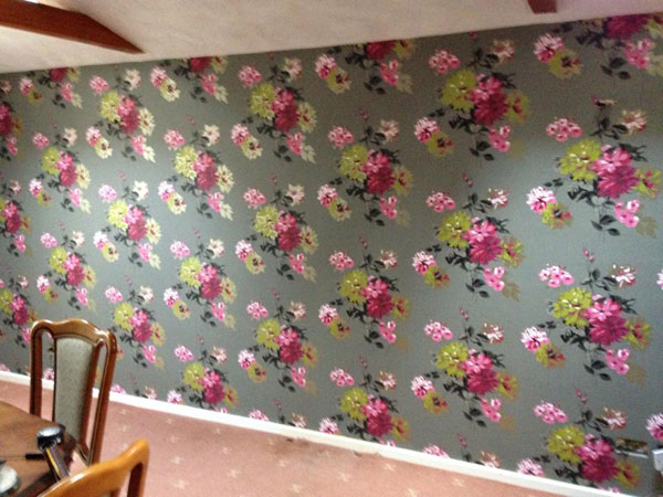 wallpapering a dining room