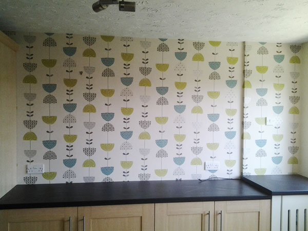 wallpapering a kitchen